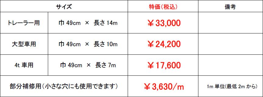 ウイング車センターシート料金表
